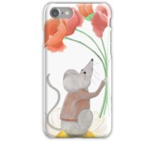 Mouse and poppies iPhone Case/Skin