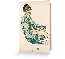 Egon Schiele - Sitting Semi Nude with Blue Hairband (1914)  Greeting Card