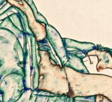Egon Schiele - Sitting Semi Nude with Blue Hairband (1914)  Sticker