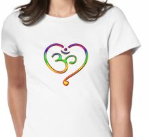 OM Heart, Mantra, Symbol Love & Spirituality, Yoga Womens Fitted T-Shirt