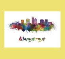 Albuquerque skyline in watercolor Kids Tee