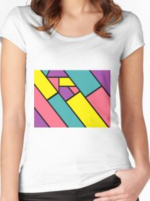 Colours Lines Black Women's Fitted Scoop T-Shirt