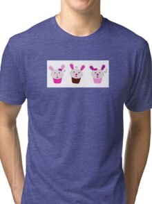 Funny singing easter bunnies for your party Tri-blend T-Shirt