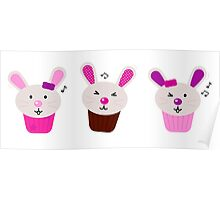 Funny singing easter bunnies for your party Poster