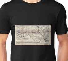 0276 Railroad Maps Map of the Hannibal St Joseph Railroad and its connections published by the American Railway Review New Unisex T-Shirt