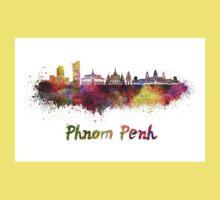 Phnom Penh skyline in watercolor Kids Tee