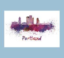 Portland V2 skyline in watercolor Kids Tee
