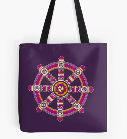 Dharma Wheel of Fortune, Buddhism,  Tote Bag