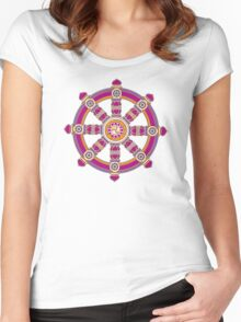 Dharma Wheel of Fortune, Buddhism,  Women's Fitted Scoop T-Shirt