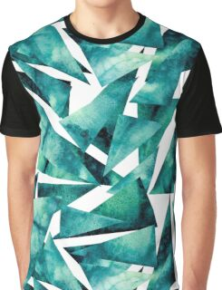 Watercolor Grunge Blue and Green Triangles Graphic T-Shirt