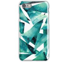 Watercolor Grunge Blue and Green Triangles iPhone Case/Skin