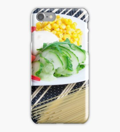 Closeup view of a vegetarian dish of raw vegetables iPhone Case/Skin