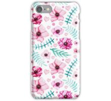 Light Pink Flowers, Hearts and Dots, Blue and Green Leaves iPhone Case/Skin
