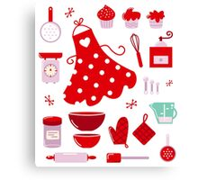 Retro set for baking or cooking : old vintage red Canvas Print