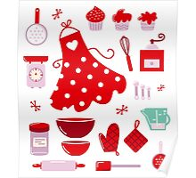 Retro set for baking or cooking : old vintage red Poster