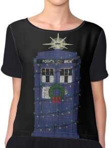 Police Box Christmas Knit Chiffon Top