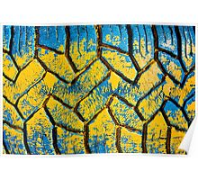 Colorful painted tire texture in detail - Grunge style multicolored background Poster