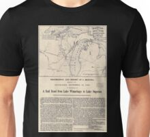 0061 Railroad Maps Proposed route for a rail road from Copper Harbor to Fond Du Lac Unisex T-Shirt