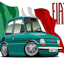 Fiat 126 caricature turquoise by car2oonz