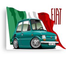 Fiat 126 caricature turquoise Canvas Print