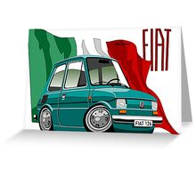 Fiat 126 caricature turquoise Greeting Card