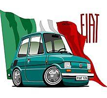 Fiat 126 caricature turquoise Photographic Print