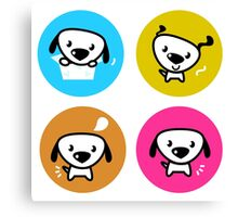 Dog icons collection. Original art and illustration Canvas Print