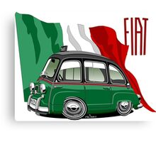Fiat Multipla 600 caricature taxi Canvas Print