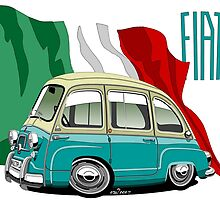 Fiat Multipla 600 caricature turquoise by car2oonz