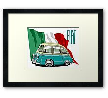 Fiat Multipla 600 caricature turquoise Framed Print