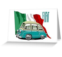 Fiat Multipla 600 caricature turquoise Greeting Card
