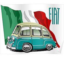 Fiat Multipla 600 caricature turquoise Poster