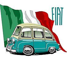 Fiat Multipla 600 caricature turquoise Photographic Print