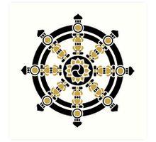 Dharma Wheel of Fortune, Buddhism, Auspicious Symbol Art Print