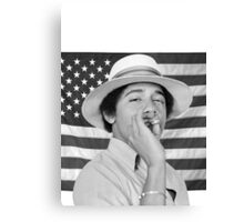 Young Obama smoking with American Flag Canvas Print