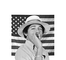 Young Obama smoking with American Flag Photographic Print