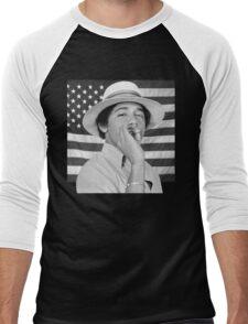 Young Obama smoking with American Flag Men's Baseball ¾ T-Shirt
