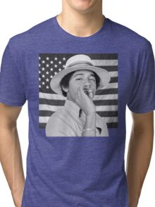 Young Obama smoking with American Flag Tri-blend T-Shirt