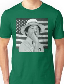 Young Obama smoking with American Flag Unisex T-Shirt