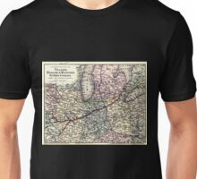 0432 Railroad Maps Map showing the line of the Toledo Wabash Western Railway Company and its Unisex T-Shirt
