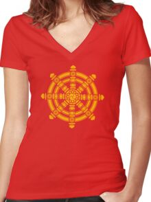 Dharma Wheel of Fortune, Buddhism, Auspicious Symbol Women's Fitted V-Neck T-Shirt
