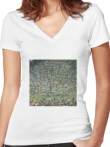 Gustav Klimt - Apple Tree I Women's Fitted V-Neck T-Shirt