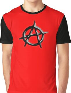 ANARCHY, ANARCHIST, Politics, Revolution, Protest, Disorder, Unrest, Symbol on red in black Graphic T-Shirt