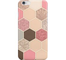 Caramel, Cocoa, Strawberry & Cream Hexagon & Doodle Pattern iPhone Case/Skin