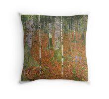 Gustav Klimt - Farmhouse With Birch Trees 1903 Throw Pillow