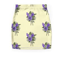 Purple Pansies and Daisies on Dotted Yellow Background, Art Mini Skirt