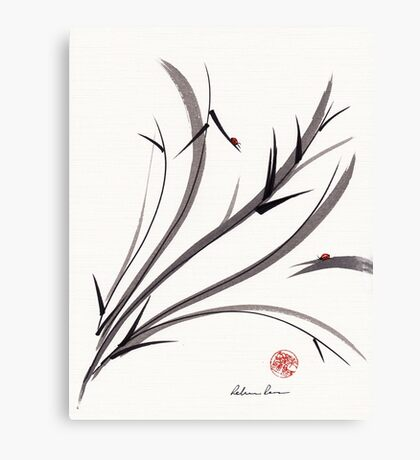 """My Dear Friend""  Original ink and wash ladybug bamboo painting/drawing Canvas Print"