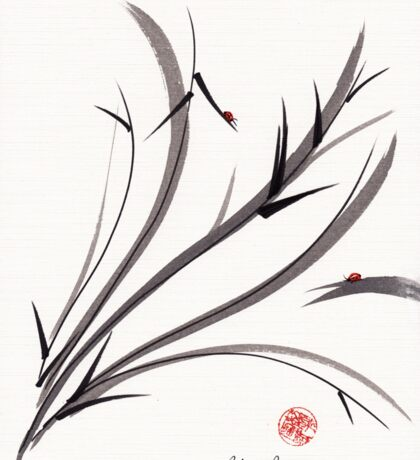 """My Dear Friend""  Original ink and wash ladybug bamboo painting/drawing Sticker"