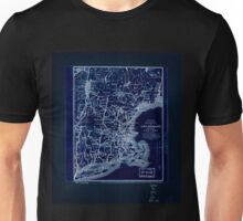 0054 Railroad Maps Map of railways in New England and part of New York engraved by E A Teulon expressly to accompany the Pathfinder Railway Inverted Unisex T-Shirt