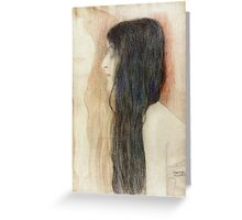 Gustav Klimt - Girl With Long Hair With A Sketch For Nude Veritas 1899 Greeting Card